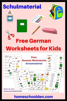 Free German Worksheets for Kids - Schulmaterial  If your kids are learning German you might be interested in these free German worksheets on Schulmaterial for learning about material you will find around a classroom. This post has links to other free materials such as numbers, colors and more. #GermanWorksheetsforKids #Schulmaterial #HomeschoolGerman German Language Learning, Learning Numbers, Hands On Activities, Toddler Activities, Learn German, Worksheets For Kids, Homeschool Curriculum, Teaching Kids, Kids Learning, German Language, Classroom Supplies, Activities For Children, Activity Sheets For Kids