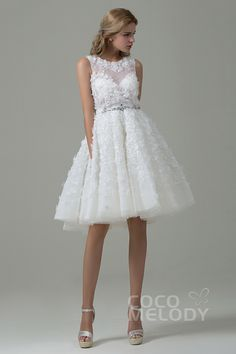 Pretty+A-Line+Illusion+Natural+Knee+Length+Tulle+Ivory+Sleeveless+Zipper+With+Button+Wedding+Dress+with+Appliques+CWZK15003 #weddingdress #weddingdress2016 #cocomelody