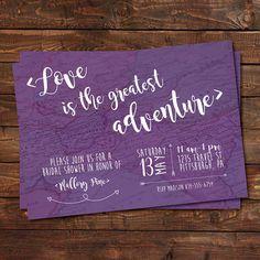 Travel Map Bridal Shower Invitation, Love is the Greatest Adventure Purple, Custom (Printable)