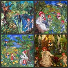 Children of the forest. Pictures for children, 4 post cards with prints of my original needle felted tapestries Waldorf education
