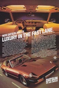 "Datsun 280-ZX Car Ad ""Luxury in the Fast Lane"" Vintage Advertisement Wall Art Decor Print by AdVintageCom on Etsy https://www.etsy.com/listing/216053607/datsun-280-zx-car-ad-luxury-in-the-fast"