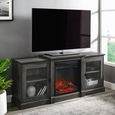 Welwick Designs 48 in. Dark Walnut Composite Corner TV Stand Fits TVs Up to 52 in. with Storage Doors HD8188 - The Home Depot Tv Stand Plans, Fireplace Console, Tempered Glass Door, Corner Tv, Flat Panel Tv, Electric Fireplace, Wood Design, Adjustable Shelving, Entertainment Center