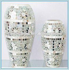 Mosaic Tile Art, Mosaic Vase, Mosaic Flower Pots, Mirror Mosaic, Mosaic Diy, Mosaic Crafts, Mirror Art, Mosaic Bottles, Diy Mirror