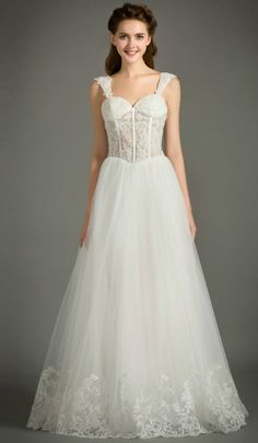 Feminine A-Line Sweetheart Floor-Length Tulle Wedding Dress With Appliques Lace. Perfect for Older Bride, Plus Size Bride, Beach Wedding. Custom made-to-order Wedding dress by GemGrace. Multiple colors and all sizes available. Additional photos also available upon request.