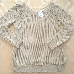 New ZARA open knit sweater medium M New with tags by Zara. Open knit crochet style and sweater with wide neckline and side slits at hem. Stone/sand color. Size medium but also looks cute oversized on someone a size XS or S. Very firm on price and will be keeping if it does not sell soon. Zara Sweaters Crew & Scoop Necks
