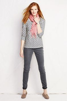 3/4-sleeve Print Lightweight Cotton Modal Pleat Front Tee | Jeans | Scarf | Lands' End