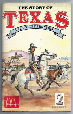 Vintage 1986 The Story Of Texas: The Frontier Paperback Mcdonalds Kids Meal Book
