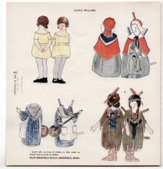 Vintage OLDE DEERFIELD Paper Dolls 1919 EUNICE WILLIAMS/CAPTIVES OF 1704
