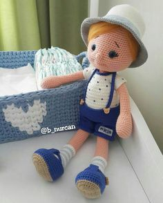 Inspiration only - such a cute little boy, but no pattern. Beauty and Things (Вязаная игрушка, амигуруми) Crochet Dollies, Crochet Baby Toys, Crochet For Boys, Cute Crochet, Amigurumi Patterns, Amigurumi Doll, Doll Patterns, Crochet Square Patterns, Crochet Doll Pattern