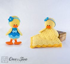 Combo Pack Duck Lovey and Amigurumi Set by One and Two Company
