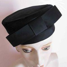 Millinery Hats, Pillbox Hat, Black Fascinator, 1950s Fashion, Women's Fashion, Vintage Tags, Satin Bows, Derby Hats, Fur Trim