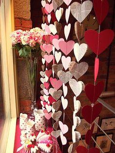valentine window display | Valentines Day window display with hanging paper heart garland. # ...