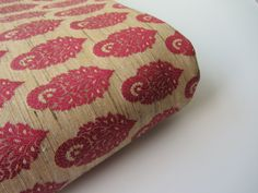 Natural silk with red flowers silk brocade fabric nr 730- 1/4 yard | fat quarter by SilksByUmf on Etsy