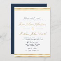 Nautical Wedding Invitations, Rehearsal Dinner Invitations, Wedding Rehearsal, Elegant Invitations, Rehearsal Dinners, Custom Invitations, Colored Envelopes, White Envelopes