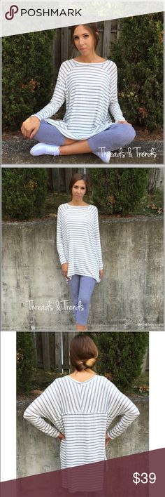 Long Sleeve Striped Tunic LONG SLEEVE STRIPED TUNIC  PRODUCT DESCRIPTION  • long sleeves • slit side hem • rounded neckline • soft, breathable material • relaxed, easy fit  Available in: Heather Gray or Beige  Material Content: Rayon & Spandex.                     Sizes S/M, M/L, XL/L pastel Tops Tunics