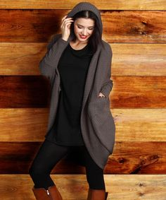 Look at this Charcoal Ribbed Knit Cocoon Cardigan - Plus on #zulily today!