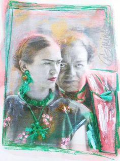 Frida Kahlo Diego Rivera mixed media from ROMANCE by CASIMIRA, $9.00
