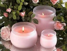 Light a few candles to set on your table with a rose floral arrangement. Candle Lanterns, Pillar Candles, Bougie Candle, Candle In The Wind, Fire Candle, Candle Power, Candle Set, Pink Candles, Porta Velas