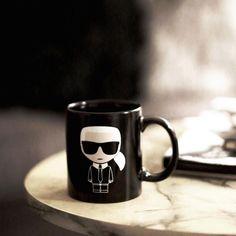 Start each day with a coffee and KARL. Karl Lagerfeld, Dinnerware, Mugs, Coffee, Tableware, Instagram, Kitchen Cupboard, Fashion, Dinner Ware