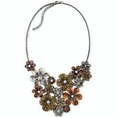 Vintage-Inspired Copper Brass Pewter Flower Medalliion CZ Bib Statement Necklace from CLASSIER DEALS for $21.99