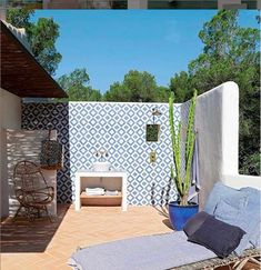 Off All Tiles Get Summer Ready Celebrating our Colourful Palette Terrace Tiles, Garden Tiles, Patio Tiles, Patio Wall, Outdoor Tiles Patio, Ibiza Style Interior, Outside Wall Decor, Outside Tiles, Exterior Tiles