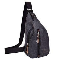 Vivoice Casual Canvas Backpack Outdoor Sports Chest Bag Shoulder Bag Unbalance Crossbody Sling Bag for men black -- You can get additional details at the image link.