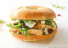 The Hampton Sandwich - grilled chicken, arugula, gorgonzola, craisins, pesto, and walnuts. the-girl-who-ate-everything.com