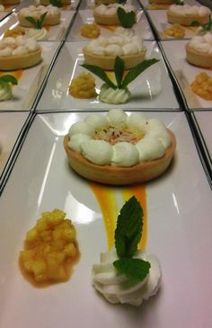 New dessert on the Spring Menu at Rowes Wharf Sea Grille - Coconut Cream Pie with Pineapple Compote and Mango Sauce!
