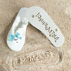 """""""Just Married"""" Girl Lady Flip Flops Stamp Your Message in the Sand! (7/8) (781974957636) Flip Flops, fit womens sizes 7-8 Leaves an Imprint in the sand that says """"Just Married"""" A Great shower gift!"""
