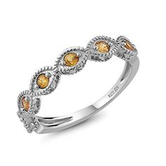 Beautiful Natural Yellow Sapphire 925 Sterling Silver Ladies Anniversary Wedding BandRing (Available in size 5, 6, 7, 8, 9). MEASUREMENT - Stones: 2.5mm Each. 100% Natural Yellow Sapphire Ring (All the sizes displayed are in stock) Crafted in 925 Sterling Silver. This beautiful design jewelry is unique and elegant,which is suitable for you to wear at any occasion and can be matched with any outfit. GENUINE - 100% Natural Yellow Sapphire. This ring is crafted with high quality gem stones to…