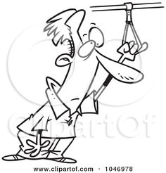 Royalty-Free (RF) Clip Art Illustration of a Cartoon Black And White Outline Design Of A Commuter Holding Onto A Handle by Ron Leishman