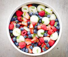 Fourth of July DIY: Red, White, and Blue Sugar-Free Macerated Fruit Salad