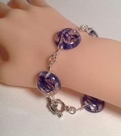 Pretty real blue flower petals resin bracelet, unique natural present for Mothers day, floral botanical wearable art on Etsy, £16.99
