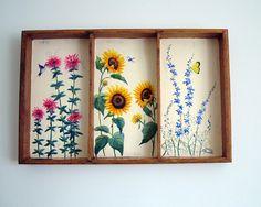 Original Oil Painting of wild flowers hummingbird by WoodArtBlocks
