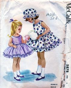 McCalls 5878 A McCall's 5878 A Vintage Sewing Patterns dress and apron / tunic to layer over it by Helen Lee The post McCalls 5878 A appeared first on Sewing ideas. Vintage Girls Dresses, Vintage Dress Patterns, Dress Sewing Patterns, Little Girl Dresses, Vintage Outfits, Skirt Patterns, Coat Patterns, Blouse Patterns, Sewing Ideas
