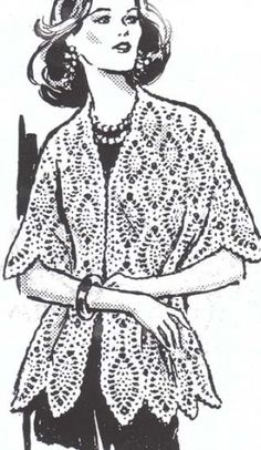 PDF Vintage Pineapple Design Crochet Cape Stole Shawl Pattern | hollywoodpatterns - Craft Supplies on ArtFire