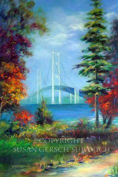 """Art Print  """"The Michigan Connection"""" colorful autumn landscape Mackinac Bridge painting - Susan Gersch Supanich - 11 x 14 print"""