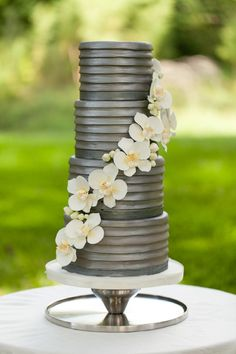 Metallic gray wedding cake with beautiful layers. Modern and chic- love it!