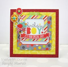 Let's Party Birthday Boy Card with @simplestories by Shellye McDaniel #birthday_card #card #cardmaking