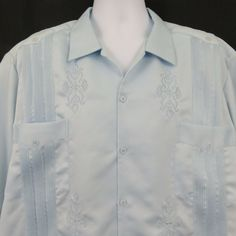 8a2994a13a Gran Lider Light Blue 4 Pocket Mens 3XL Pleated Embroidered SS Guayabera  Shirt  GranLider