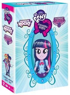 """My Little Pony: Equestria Girls (Three Movie Gift Set) features the newest film """"Friendship Games"""" and a Lenticular Cover with Twilight Sparkle turning from pony to. Friendship Games, Girl Friendship, My Little Pony Equestria, Equestria Girls, Rainbow Rocks, Rainbow Dash, Polymer Clay Cupcake, Movies Box, Movie Gift"""