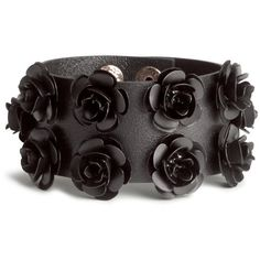 H&M Bracelet with flowers (10 CAD) ❤ liked on Polyvore featuring jewelry, bracelets, accessories, black, flower jewelry, h&m, black jewelry, kohl jewelry and snap button bracelet