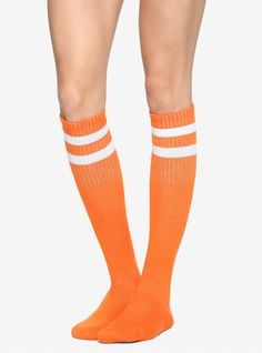 Get sporty in this pair of knee-high crew socks! They feature two white stripes at the top and super comfy cushioned soles. Orange Knee High Socks, Orange Socks, Lace Tights, Fishnet Tights, Velma Costume, Girls Socks, Striped Socks, Black Knees