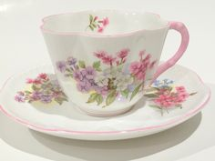 Shelley Tea Cup and Saucer, Shelley Stocks Cup, Tea Set, Antique Tea Cups, Tea Cups Vintage, English Teacups, Shelley China, Pink Cups by AprilsLuxuries on Etsy