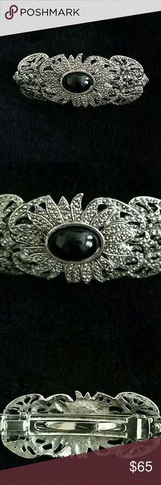 FLASH SALE! Vintage Hair Clip with Black Stone Hammered metal intricate design with a black stone in the center. The beautiful touch your hair needs. Other