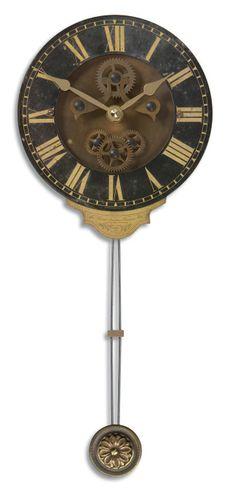 uttermost mini leonardo black wall clock