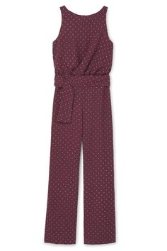Add some polka dots to an otherwise simple jumpsuit for a quick date night look. Finish off the outfit with strappy heels and a box clutch.