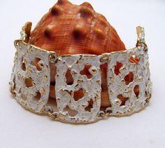 """Napier """"Molten Metal"""" White Enameled Wide Bracelet Gold-tone"""