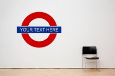 Vinyl wall art by PondicherryVinyl Text Signs, Wall Signs, London Bedroom Themes, London Wall, Feature Wallpaper, London Underground, Wall Decal Sticker, Diy Wall Art, Kids Rooms