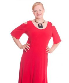 Rotes Plus Size Kleid mit edlen Cut-Outs an den Schultern.  Jetzt im Shop erhältlich:  www.designforyou.at/shop Shops, Cold Shoulder Dress, Tunic Tops, Dresses, Women, Fashion, Red, Vestidos, Moda